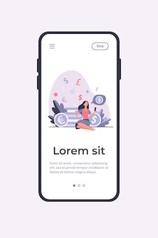 부유 한 여자가 앉아 스마트 폰을 사용합니다. 동전, 돈, 투자 평면 벡터 일러스트 레이 션. 금융 및 거래 개념 모바일 앱 템플릿