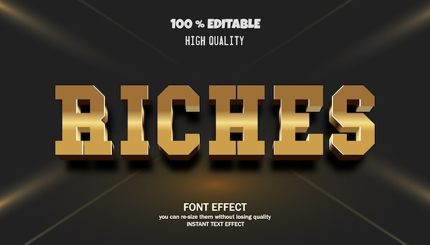 Riches text effect editable font