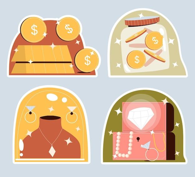 Richness concept stickers set