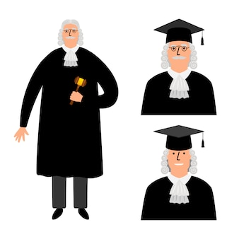 Richter. cartoon judge illustration, legal court character in mantle isolated on white