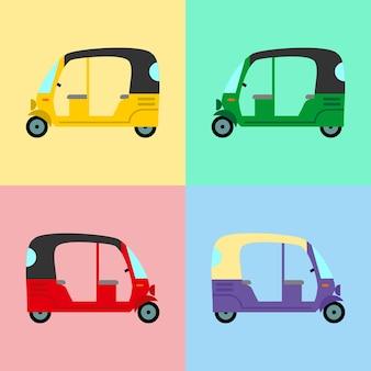 Rickshaw set color style on colorful background