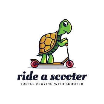 Логотип иллюстрация ride a scooter простой стиль талисмана.