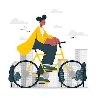 Illustrazione del concetto di guida in bicicletta