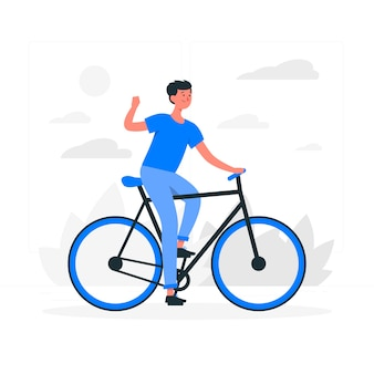 Guidare un'illustrazione del concetto di bicicletta