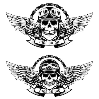 Ride or die. set of the skulls in racer helmets with wings  on white background.   elements for emblem, sign, label, t-shirt.  illustration