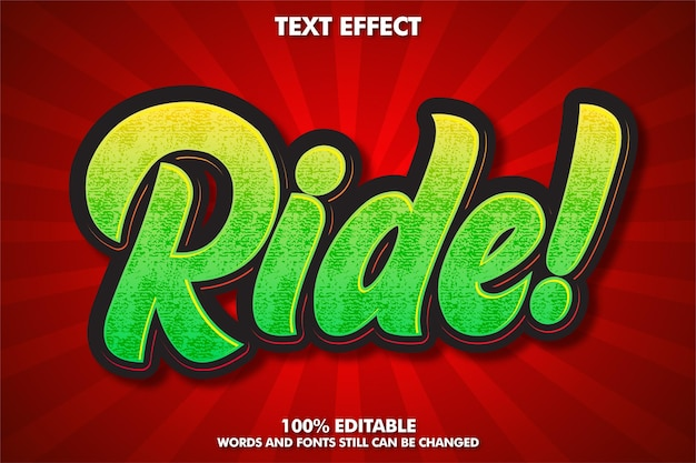 Ride, editable text effect with grunge texture