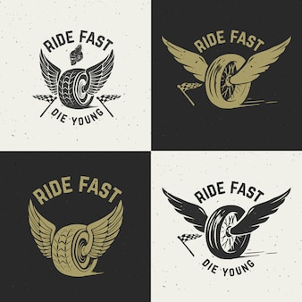 Ездить быстро, умри молодым. ручной обращается колесо с крыльями. элемент для плаката, футболки, эмблемы. иллюстрация