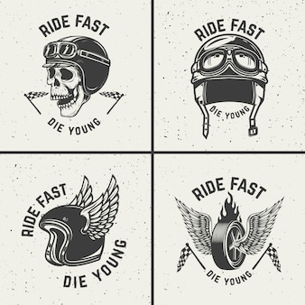 若くして速く死ぬ。手描きの翼を持つホイール。ポスター、tシャツ、エンブレムの要素。図