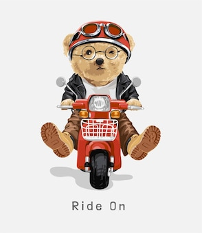 クマのおもちゃの乗馬スクーターのイラストでスローガンに乗る