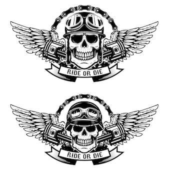 Катайся или умри. комплект черепов в шлемах гонщика с крылами на белой предпосылке. элементы для эмблемы, знака, этикетки, футболки. иллюстрация