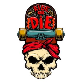 乗るか死ぬか。スケートボードで頭蓋骨。ロゴ、ラベル、サイン、ピン、ポスター、tシャツのデザイン要素。ベクトルイラスト