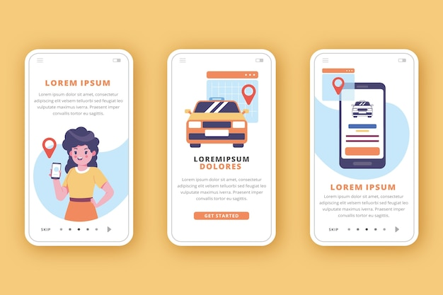 Ride sharing onboarding app screens