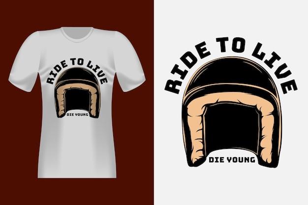 헬멧 빈티지 티셔츠 디자인으로 라이드 투 라이브