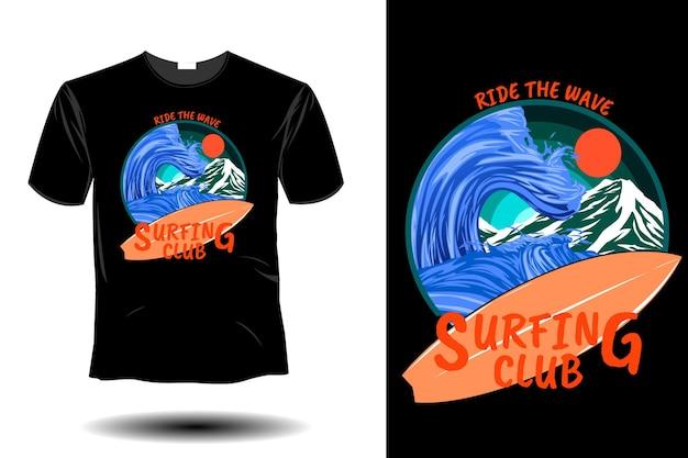 Ride the wave surfing club retro vintage design