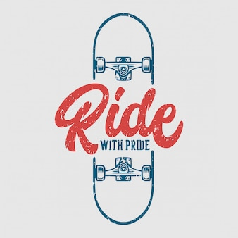Ride with pride skate illustration