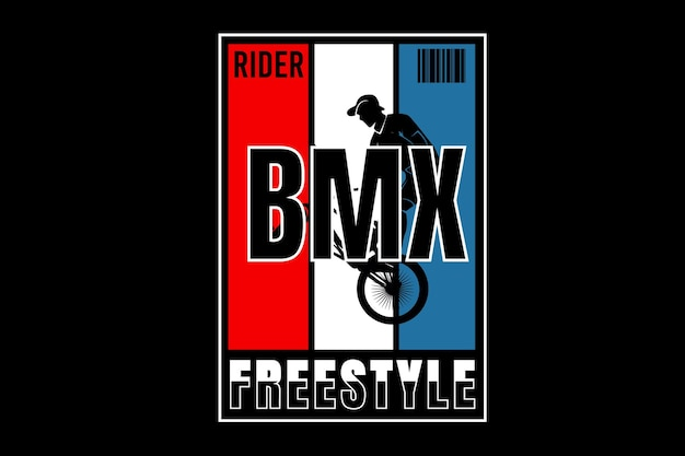 Rider bicycle motocross freestyle color red white and blue