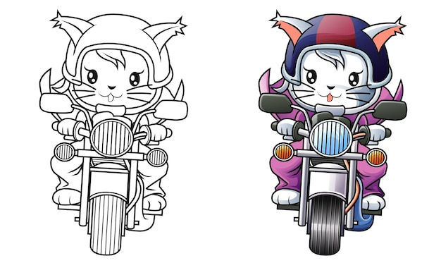 Rider cat and motorcycle cartoon coloring page for kids