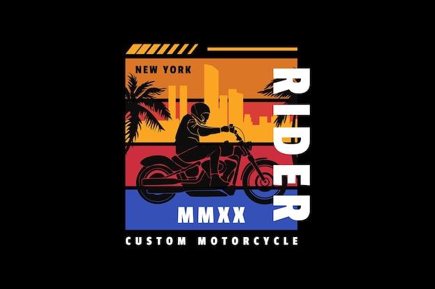 Rider custom motorcycle, design silt retro style