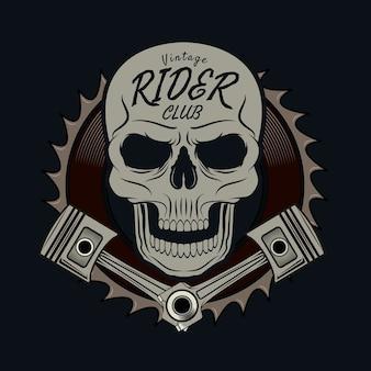 Rider skull graphic for t-shirt