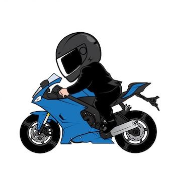Rider speeding motorcycle in black suit cartoon vector