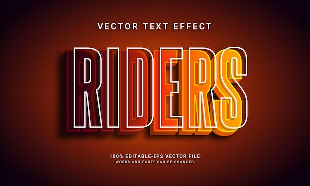 Riders editable text effect with sports racing theme