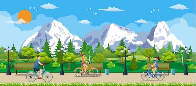 公共の公園で自転車に乗る、フラットなデザインのベクトル図
