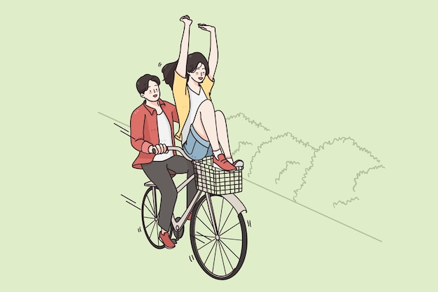 自転車に乗って、ストリートサマーアクティビティのコンセプト