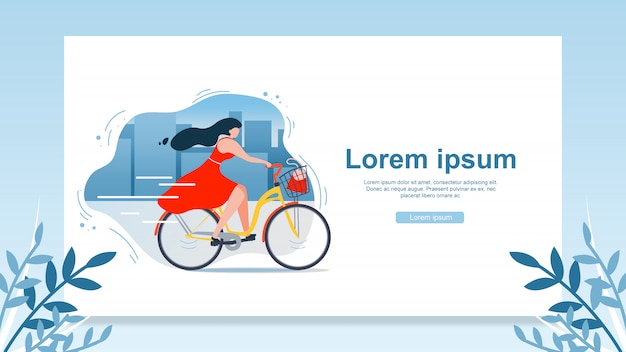 Riding bicycle in city flat vector web banner