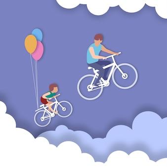 乗る自転車父と息子