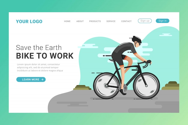 Riding bicycle landing page template