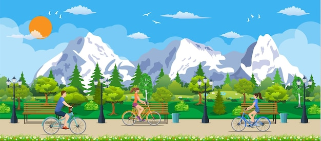 Riding a bicycle in public park, vector illustration in flat design