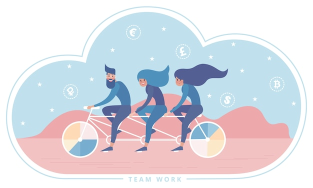 Riding bicycle triplet tandem as a metaphor of teamwork.