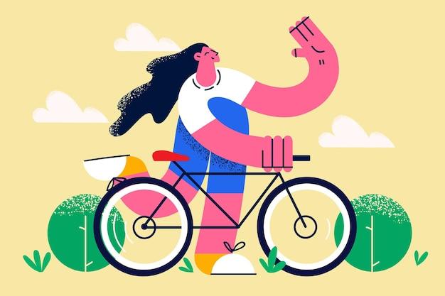 자전거 타기와 활동적인 라이프스타일 컨셉