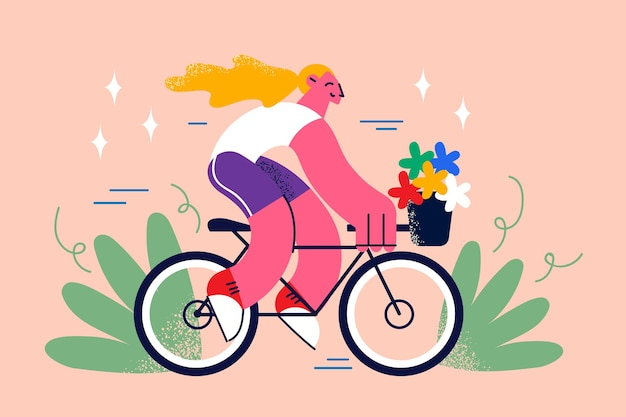 Riding bike and street summer activities concept. smiling pretty blonde hipster slim girl with long hair riding fixed gear bicycle with flowers in basket vector illustration
