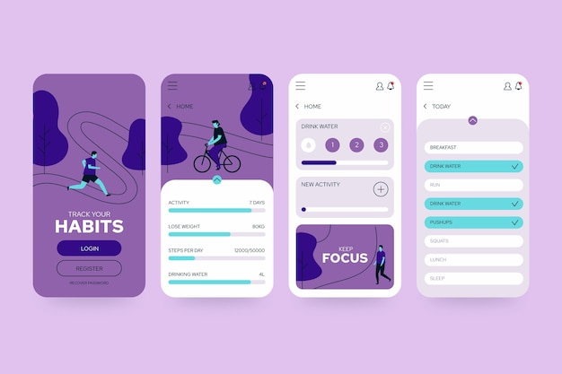 Riding the bile and running goals and habits tracking app