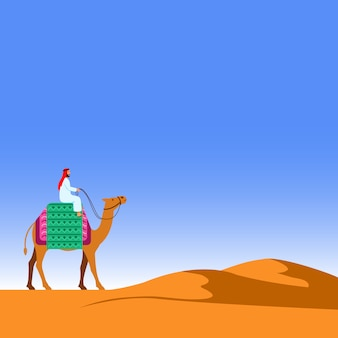 砂漠のイラストを横切ってラクダに乗る