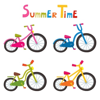 Riding color bikes isolated on white background, cartoon bikes for boy or girl.