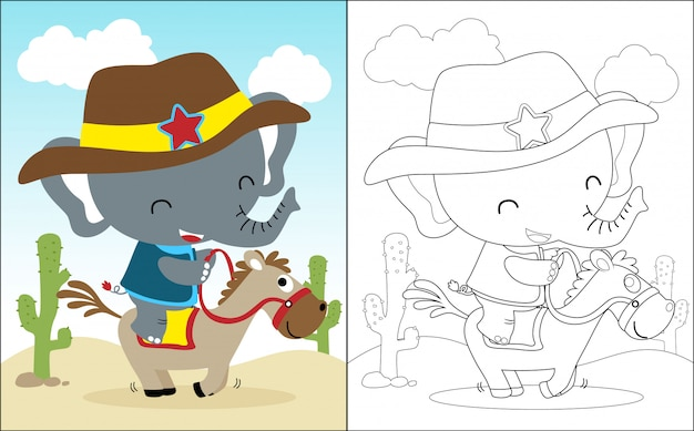 Riding horse cartoon with funny elephant