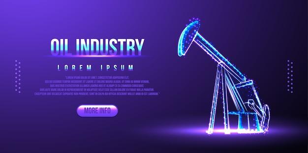 リグ、石油産業。抽象的な低ポリワイヤーフレーム
