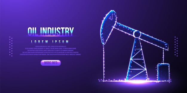 Rig oil industry low poly wireframe, polygonal design