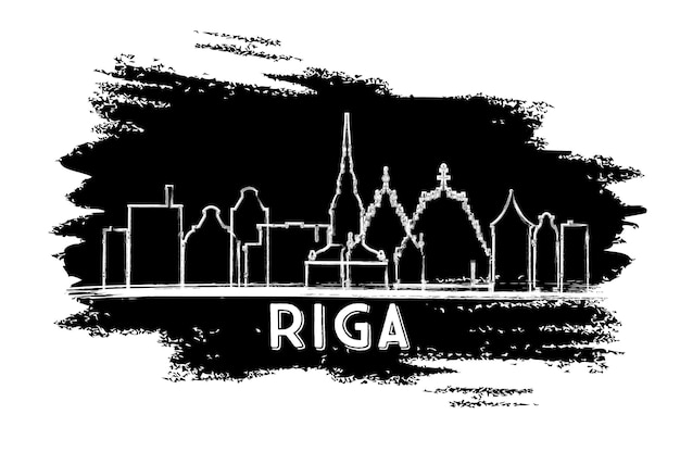 リガラトビアのスカイラインのシルエット。手描きのスケッチ。歴史的な建築とビジネス旅行と観光の概念。プレゼンテーションバナープラカードとwebサイトの画像。ベクトルイラスト。