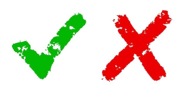 正しいアイコンと間違ったアイコン。緑のチェックマークと白い背景で隔離の赤い十字の手描き。ベクトル図。
