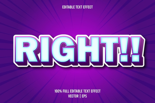 Right!! editable text effect comic style editable text effect