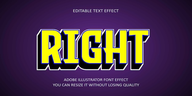 Right editable text effect