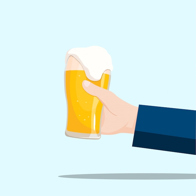 Right hand holding a beer glass on a blue background