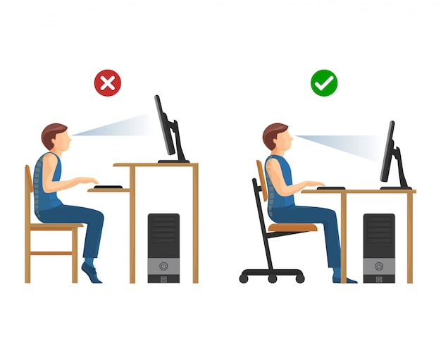 Right position for work at computer instructions set. man at desk with monitor above and beneath eyesight. wrong and right way to sit.