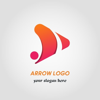 Right side abstract arrow logo template with gradient color