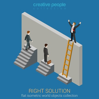 Right solution to solve problem business concept flat 3d web isometric infographics . creative people collection.