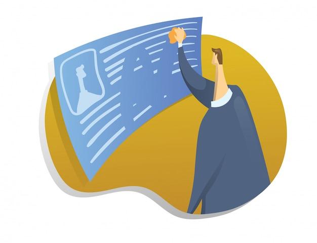 Право быть забытым в интернете. мужчина стирает информацию о себе. иллюстрация концепции на белом фоне.