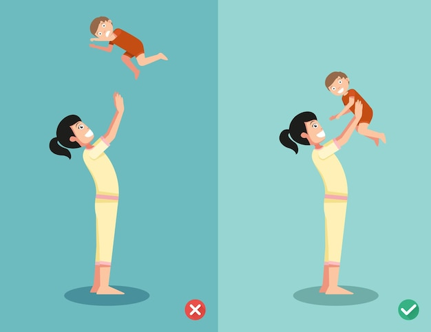 Right and wrong ways for playing with the baby.  illustration